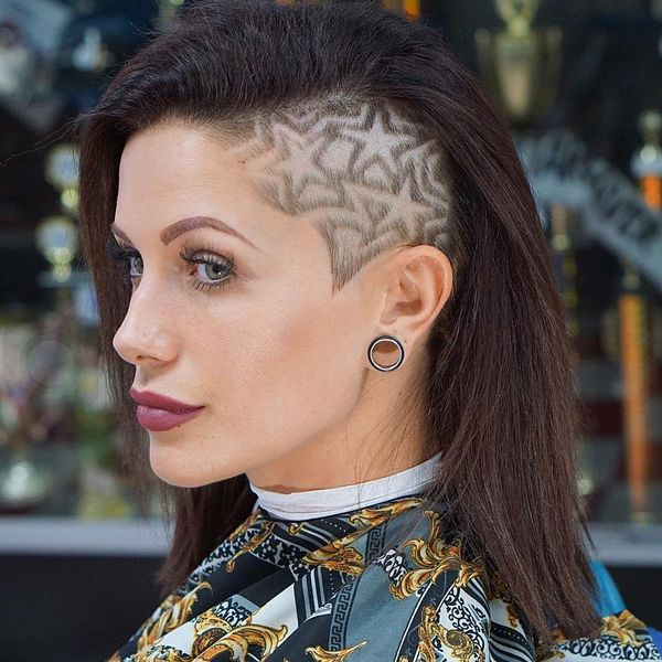 One side shaved undercut for girls 3