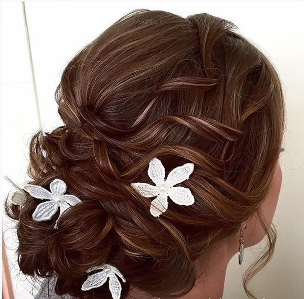 Streaked Curls with Floral Design