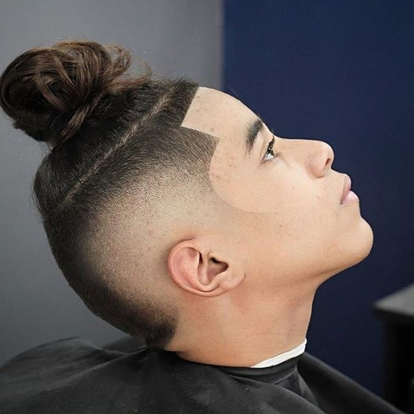 Cool man bun fade haircut 1