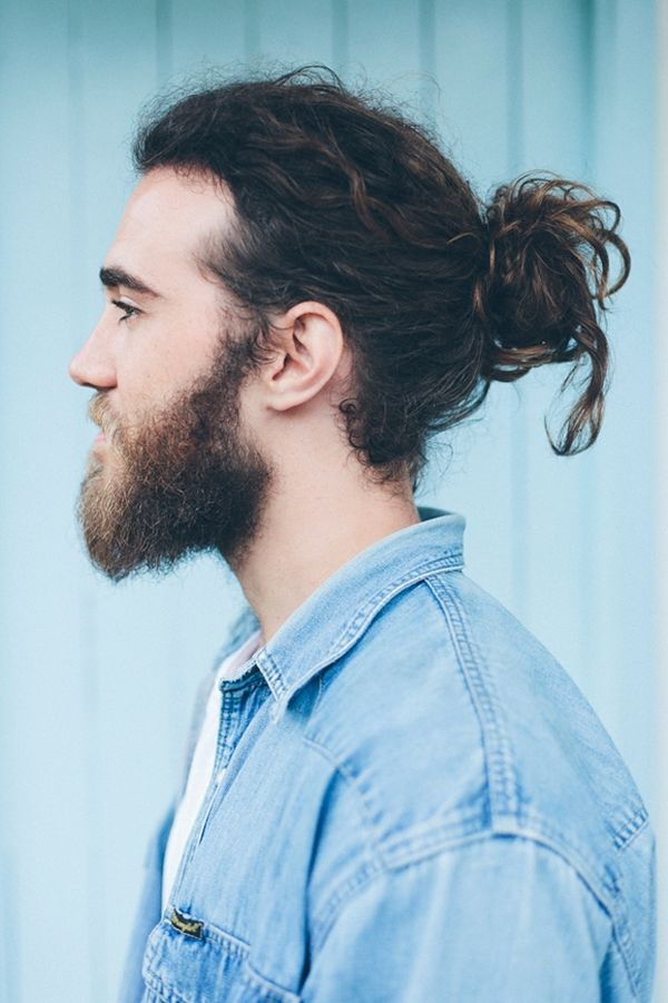 Full man bun with long hair 2