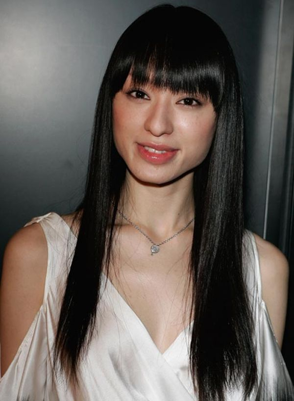 Long straight layered hair with long side swept bangs 3