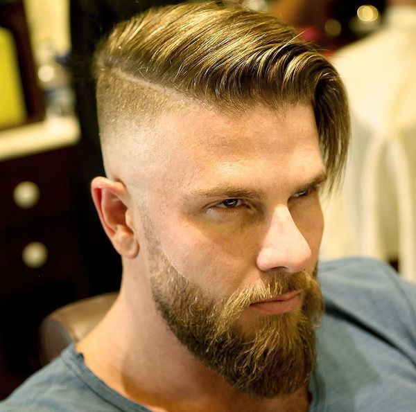 Side part in haircut with long top 3