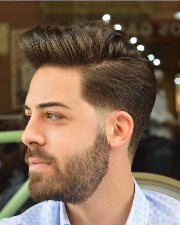 Side part in haircut with long top 4