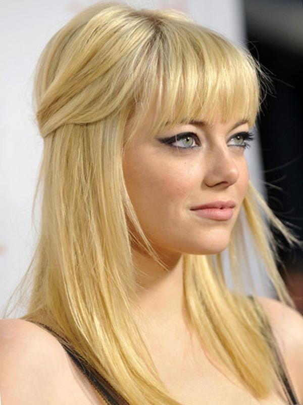 Half up Ponytail Hairdos with Bangs for Long Straight Hair 3