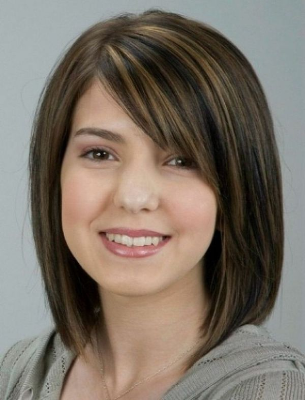 Medium Haircuts with Textured Bangs For Round Chubby Face 3
