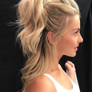 Simple Hairstyle Messy Curly Half Ponytail Style 3