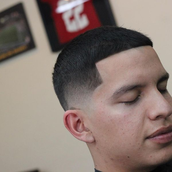 Buzz cut lined up haircut 2