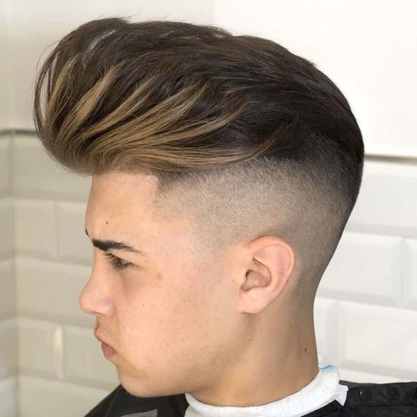 Classic taper fade with long hair on top 2