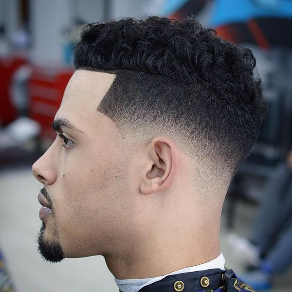 Cool taper fade with curly top 3