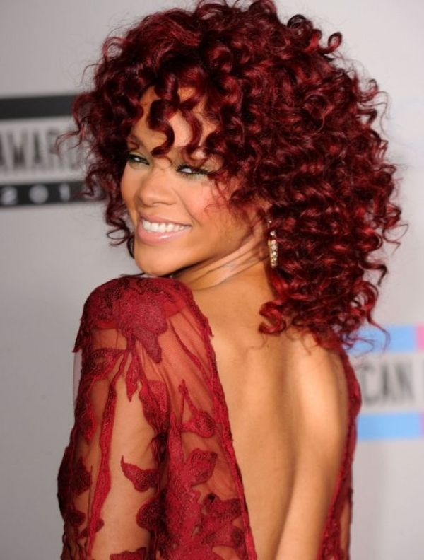Curly Burgundy Red Hair Styles 1