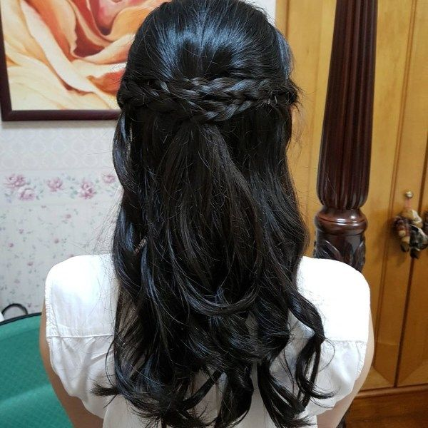 Half up half down long hairstyles with braids 1