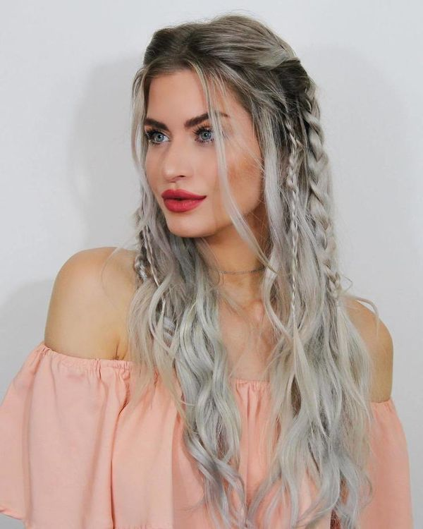 Half up half down long hairstyles with braids 2