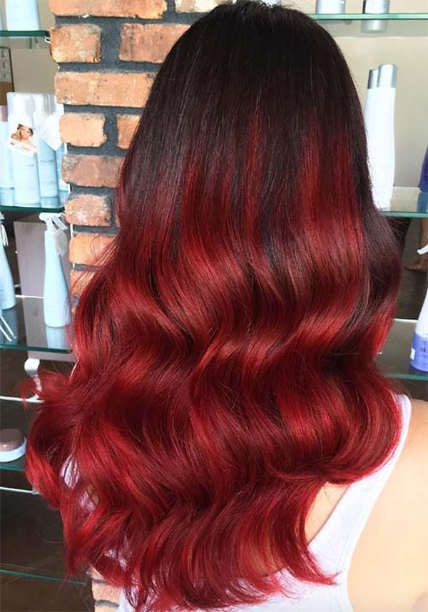 Images of Burgundy Ombre and Burgundy Balayage 1