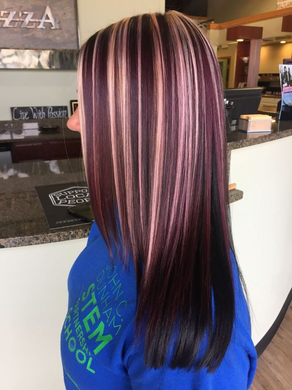 Long Burgundy Hair with Blonde Highlights 3
