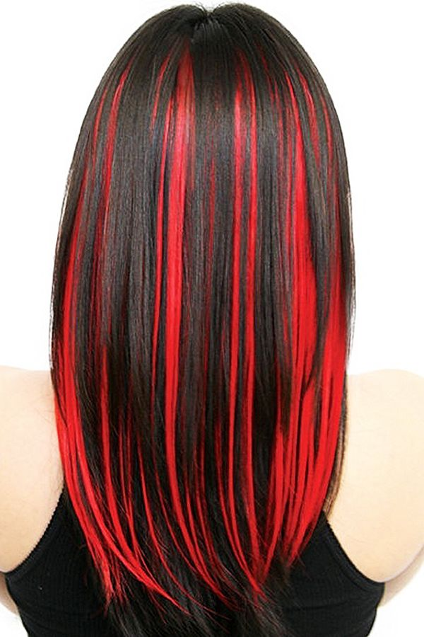 Impressive Black Hair With Red Highlights 1