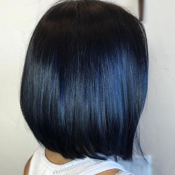How about black hair with blue highlights? 2
