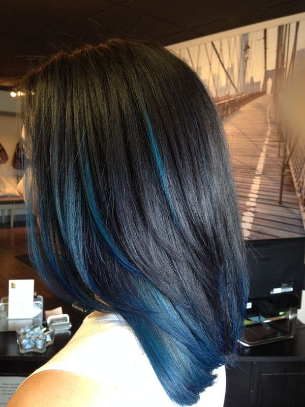 Black hair with blue streaks 2