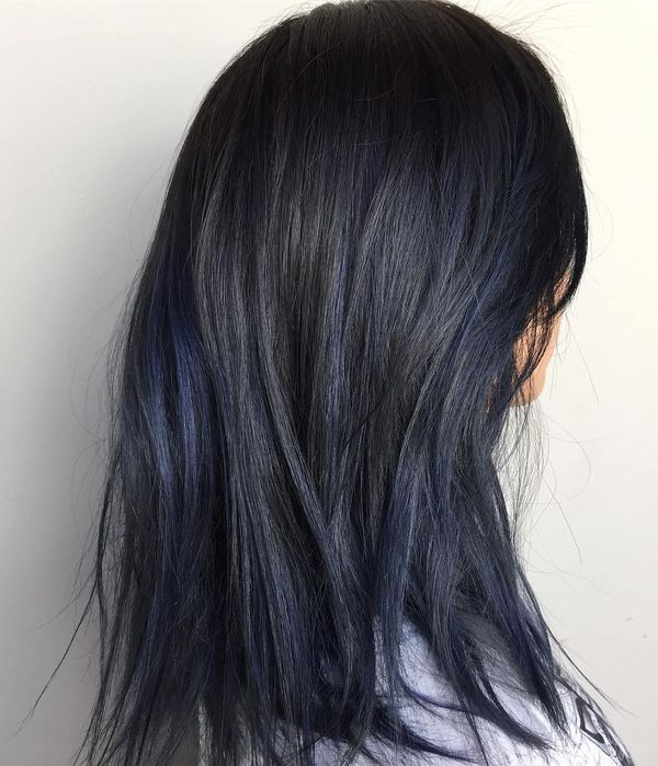 How about black hair with blue highlights? 1