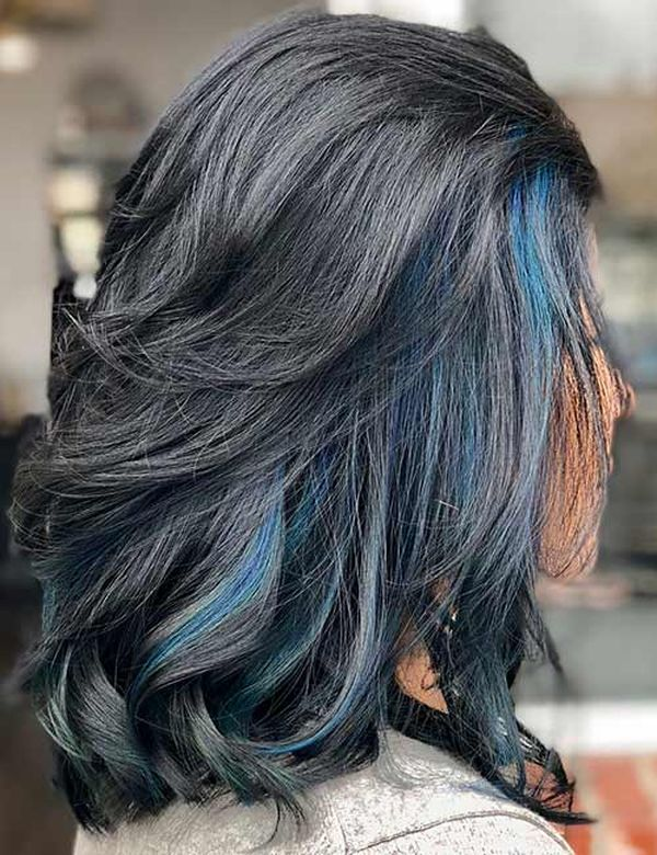 Black hair with blue streaks 1