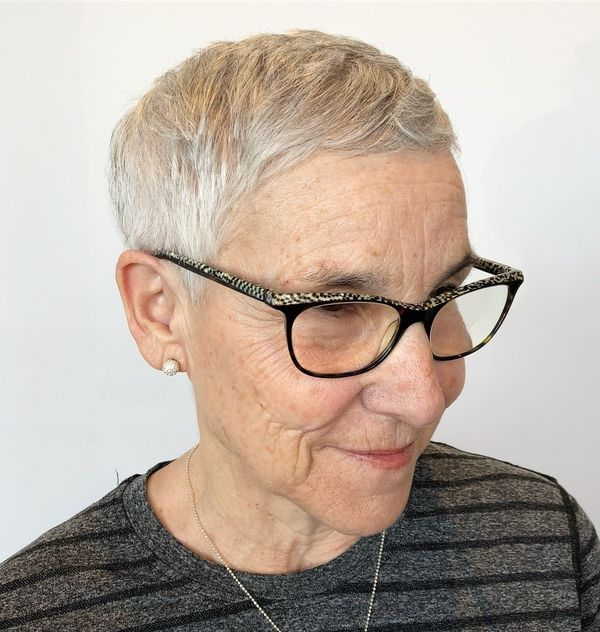 Trendy Female Hairstyles for Ladies over 70 with Glasses 2