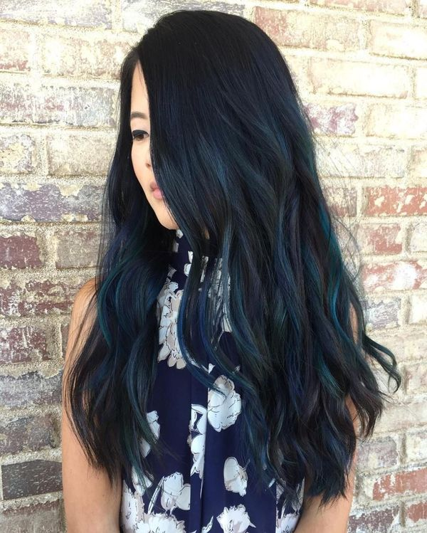 Black hair with blue streaks 3