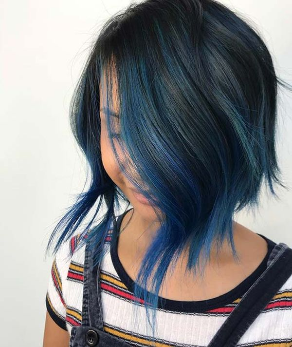 How about black hair with blue highlights? 3