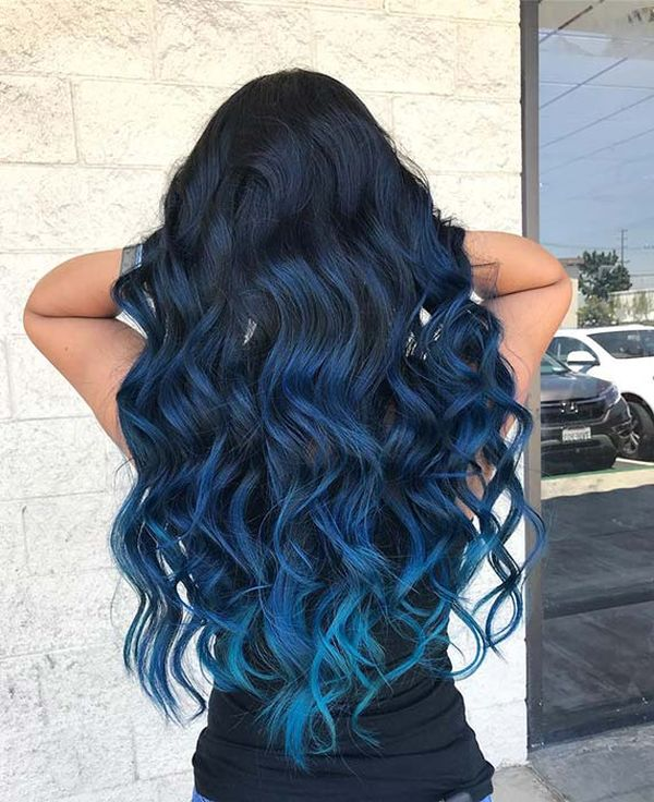 Cool ideas of black to blue hair 5