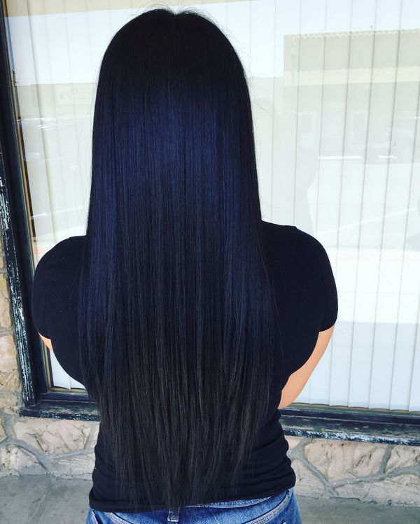 Hairstyles with slightly bluish black hair color 2