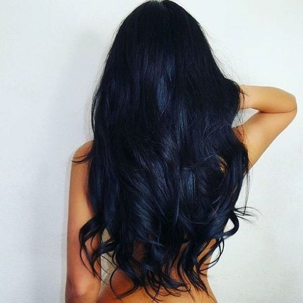 Beautiful black hair with blue tint 3