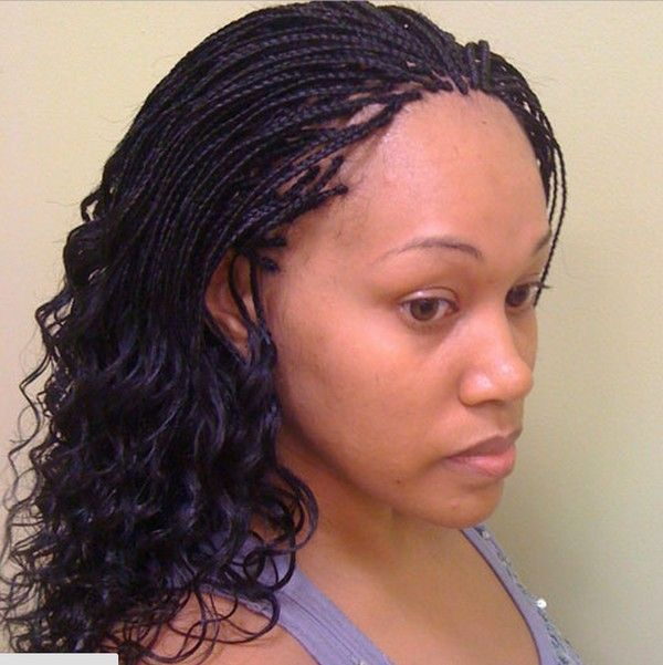 Wet and wavy micro braids with curly tips 1