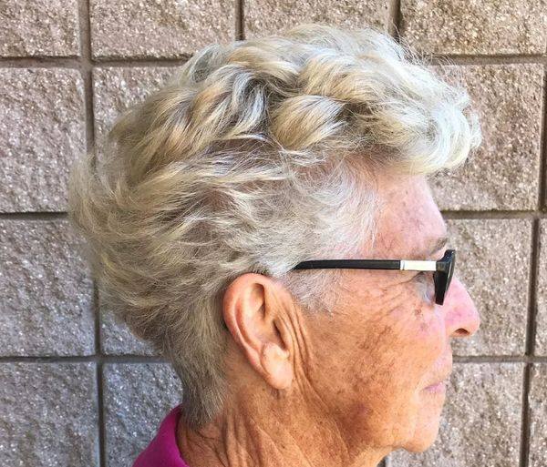 Trendy Female Hairstyles for Ladies over 70 with Glasses 5