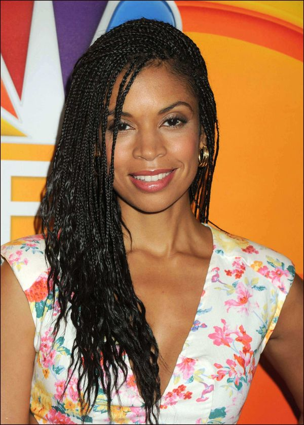 Ideas of hairstyles with micro box braids 2