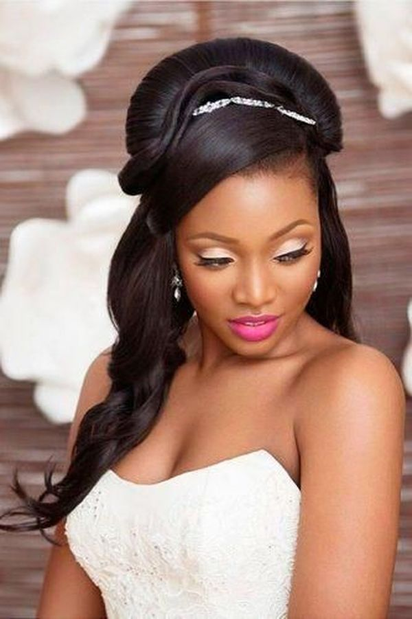 African American Wedding Hairstyles Half Up and Half Down 3
